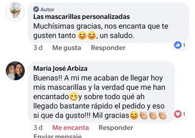 Opiniones en redes sociales de las mascarillas personalizadas .es. 2jpg