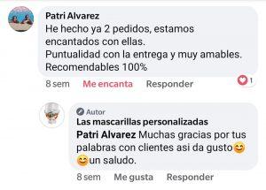 Opiniones en redes sociales de las mascarillas personalizadas .es. 4jpg