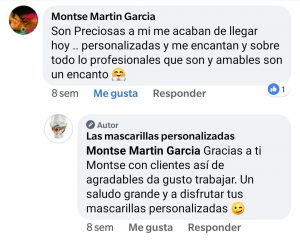Opiniones en redes sociales de las mascarillas personalizadas .es. 6jpg