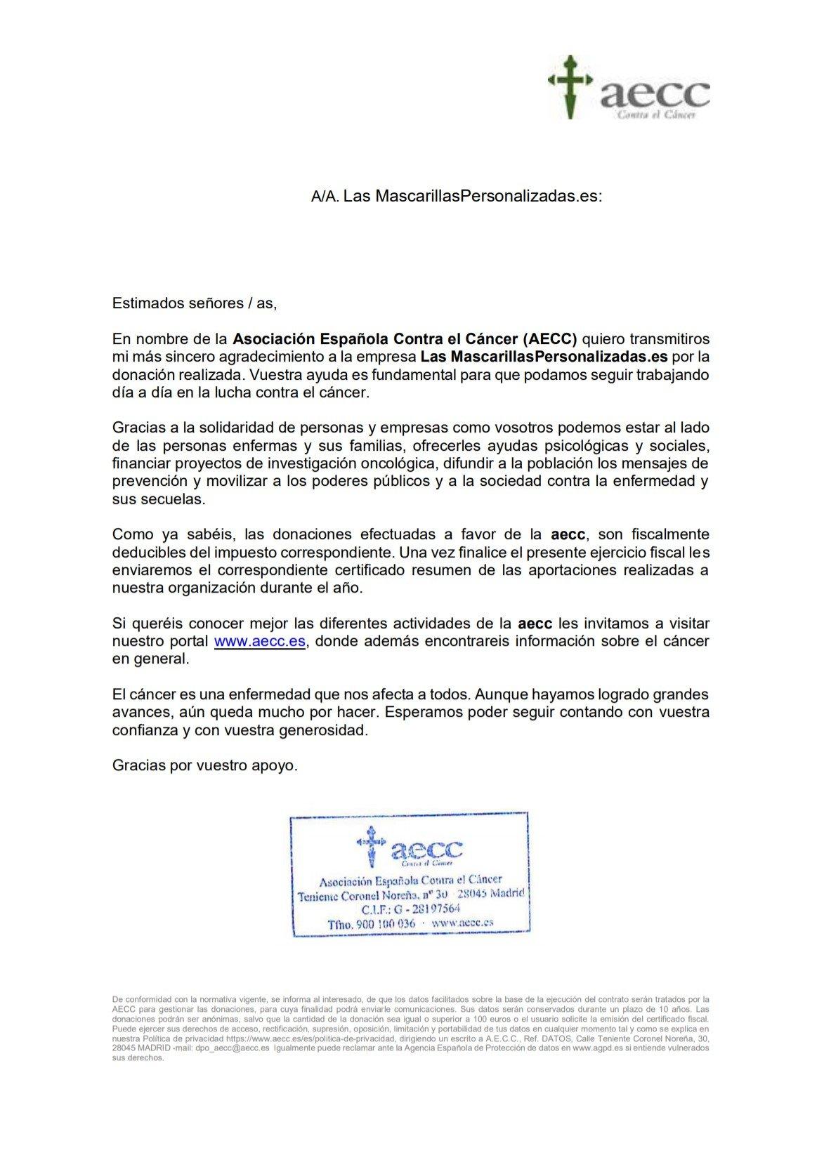 Donación de las mascarillas personalizadas .es a asociación española contra el cancer